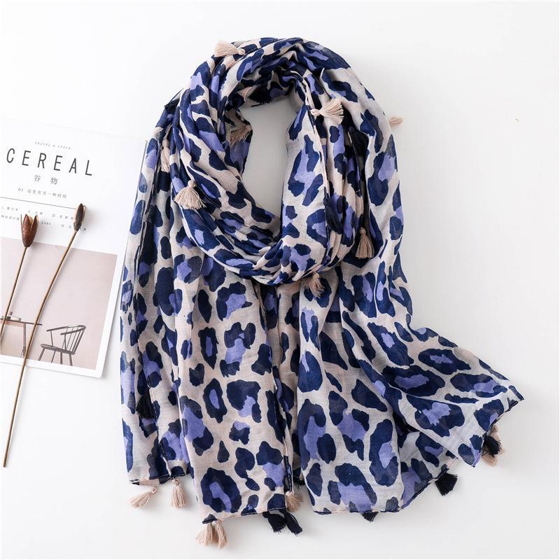 Leopard Print Cotton Scarf Woman Winter Flash Shawl Dual Purpose Autumn Long Fund Silk Scarf Student Joker Scarf Keep Warm