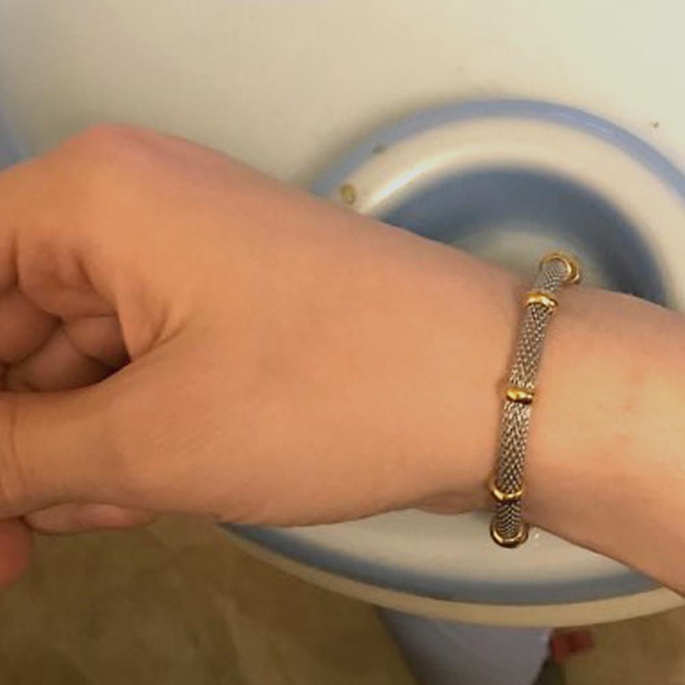 Высокое качество трехцветные браслеты из нержавеющей стали застежка с прелестями кабельная сетка браслет цепочка браслет для мужчин или женщин приятно