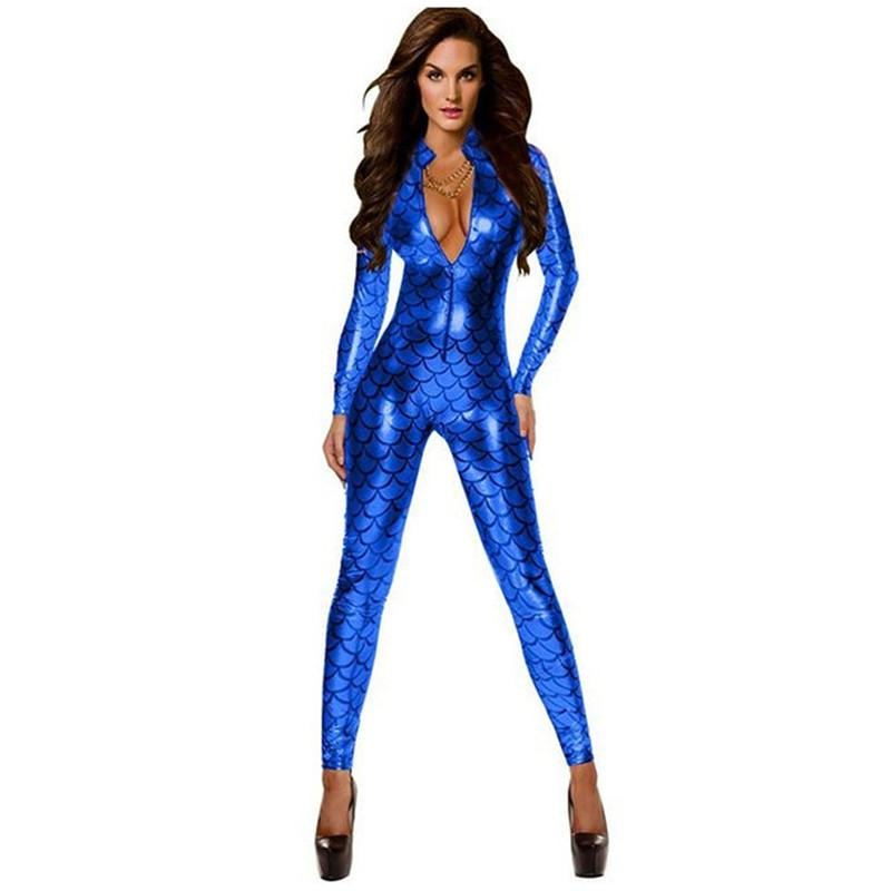 Femmes Sexy Snake Imprimer Faux cuir Night Club jumpsuit Latex Bodysuit adulte PVC catsuit fétiche Zipper Lingerie érotique Y200401