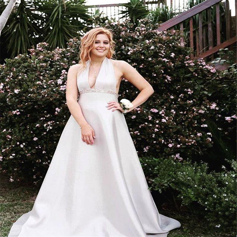 2020 Princesa Halter vestidos de noiva V pescoço com Satin Train Boho Garden Vestido de Noiva Custom Made