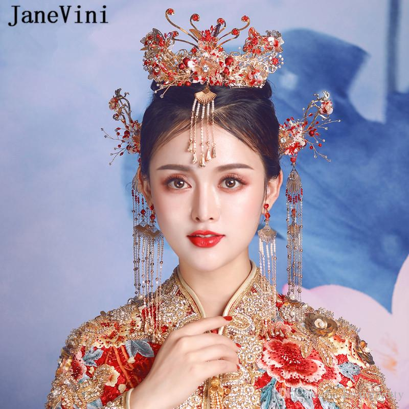 JaneVini Traditional Chinese Beaded Bridal Headwear Long Tassel Hair Ornament Luxury Red Butterfly Hairpins Wedding Jewelry Hair Accessories