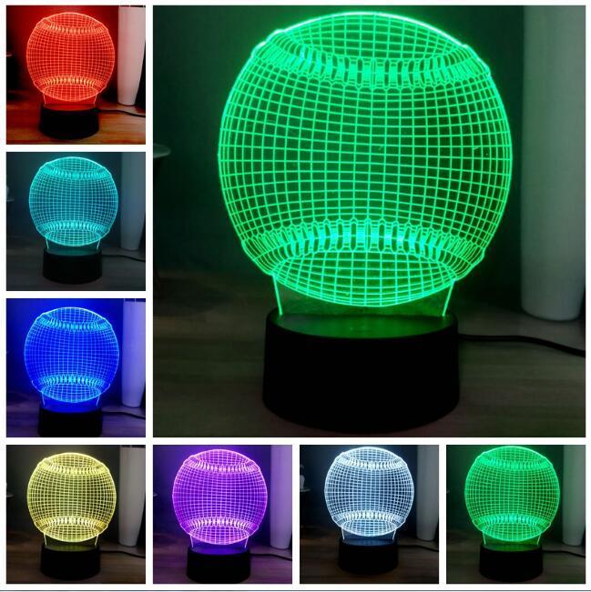 크리 에이 티브 3D 야구 모양 LED 7 색 변경 침실 머리맡 공 테이블 램프 소프트볼 LED 나이트 라이트 아기 수면 조명 룸 테이블 데코
