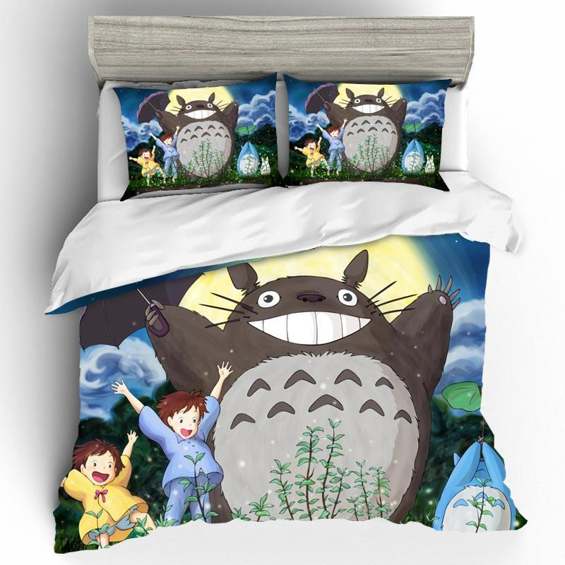Home Textile Cartoon Anime Totoro King Size Bedding Set Bed Linens 3D Comforter Bedding Sets Duvet Cover Bed Sheet Pillowcase