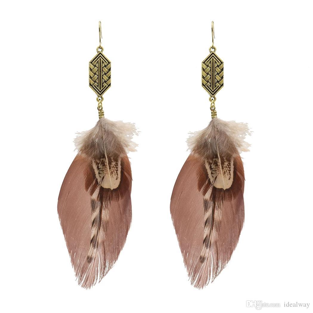 idealway 3 joyería del color de Bohemia de la vendimia pendientes de la pluma de plata colgante gota cuelga el pendiente del gancho