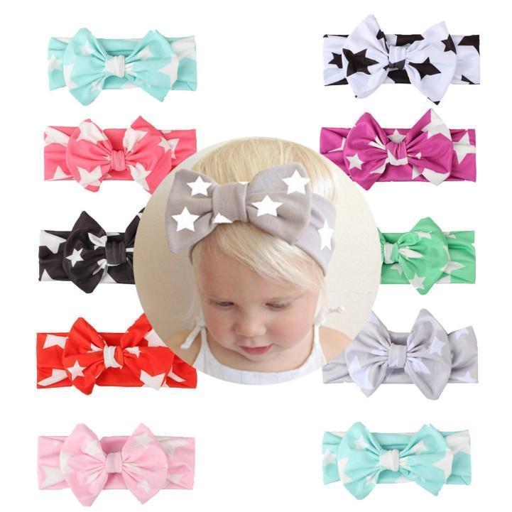 9 cores meninas bonitas Padrão Estrela Impresso Bow Headbands para o partido infantil foto do bebê Props Renascer inverno quente Turban Acessórios