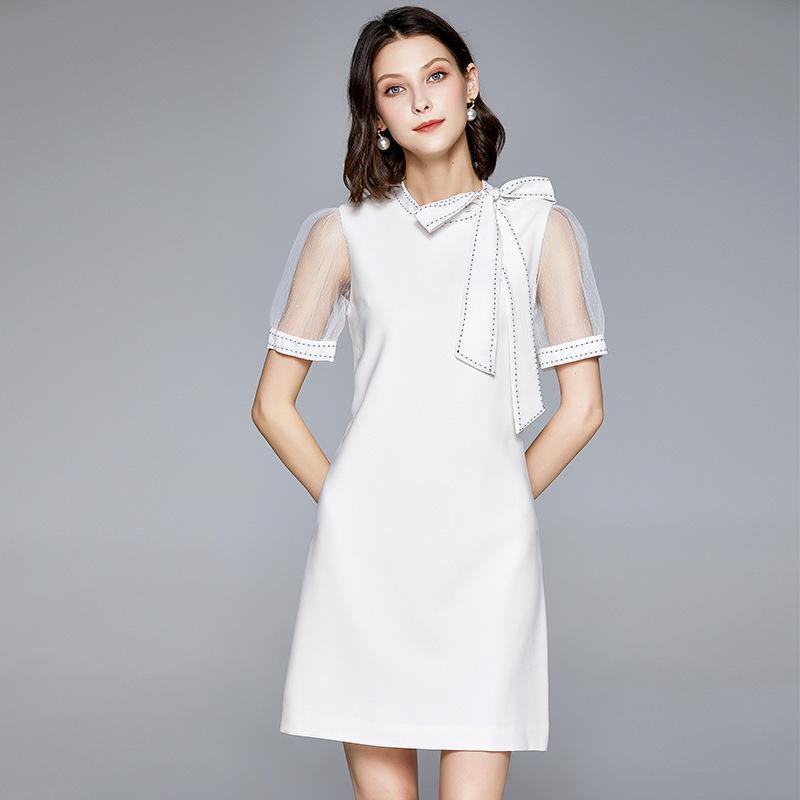 2020 новое летнее платье короткий стиль леди бантом галстук пояс круглый вырез чистая пряжа рукав сращивание чистый цвет яркая линия юбка