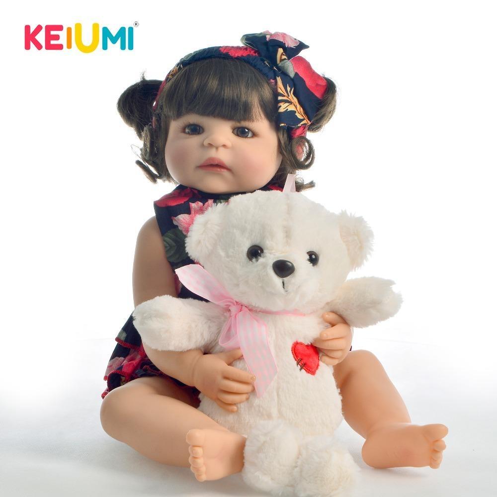 KEIUMI جميل Menina Boneca 55 سم كامل الجسم سيليكون 22 تولد من جديد دمية طفل مع الضفائر واقعية الأميرة للطفل زميل MX200414