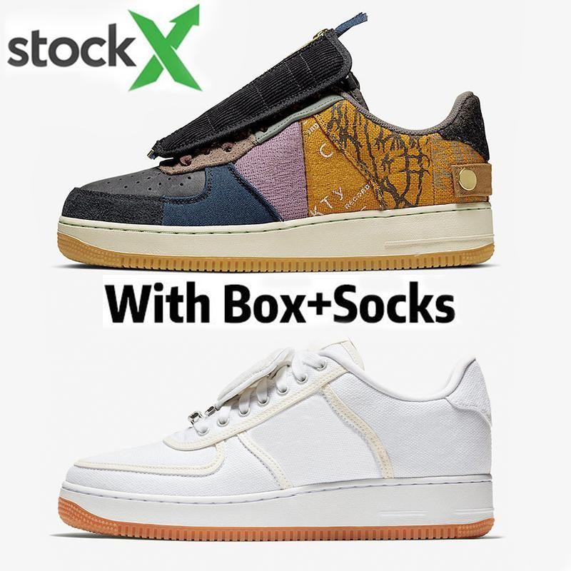 2020 Hot Sale Travis Scotts 1 Basso Cactus Jack Uomini Donne Scarpe da corsa 3m bianco riflettente aria Mens Trainer Sport Sneakers Taglia 36-45