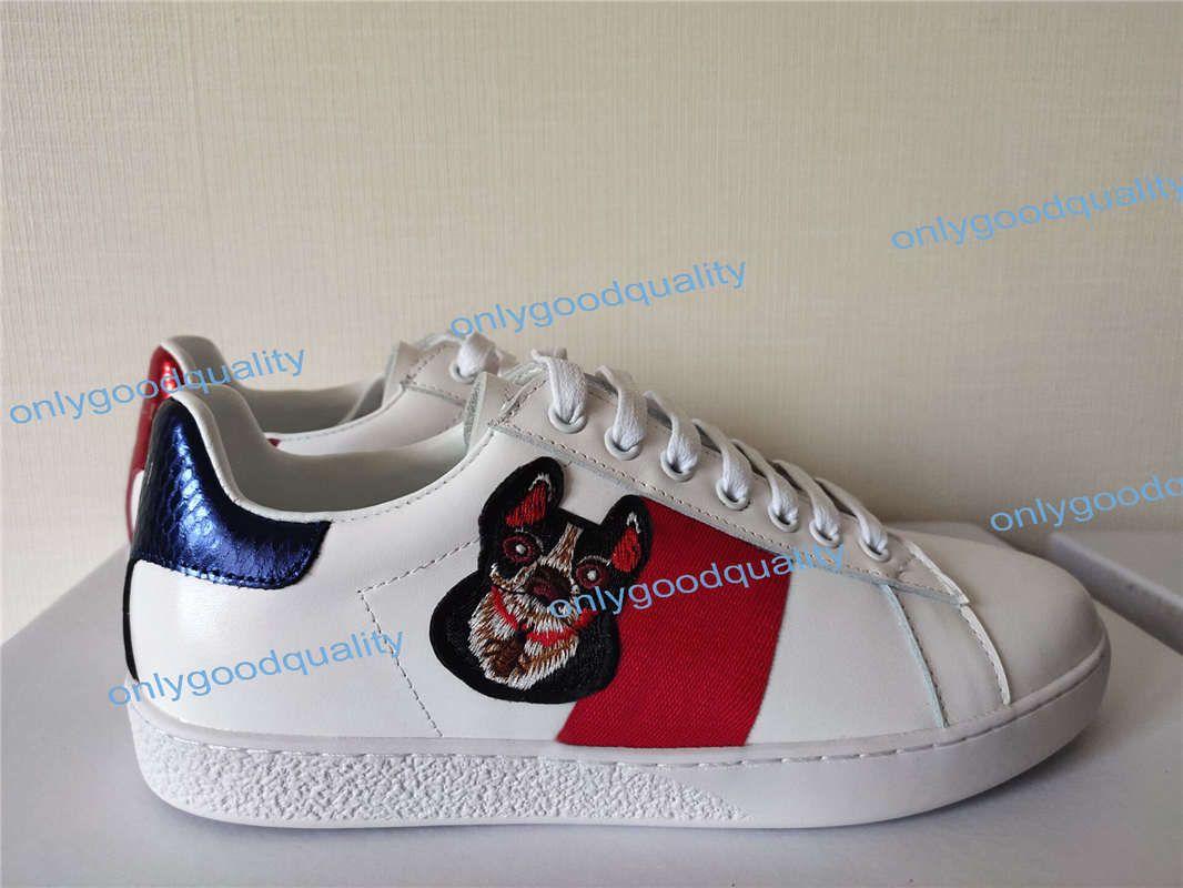 Meilleure vente de chaussures de designer vert tête de tigre de broderie rayée rouge ACE en cuir chaussures de sport de marque blanche marque hommes et femmes chaussures de sport