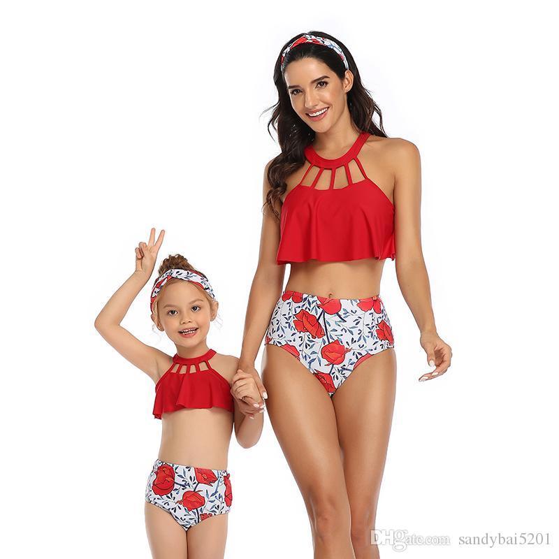 UK Hot Mother Daughter Family Matching Bikini Swimsuit Womens Men Kids Swimwear