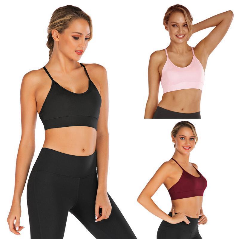 As mulheres absorvem o suor respirável Sports Bra à prova de choque acolchoadas Atlético de duração de Fitness Yoga Tops Top Bra Seamless Esporte