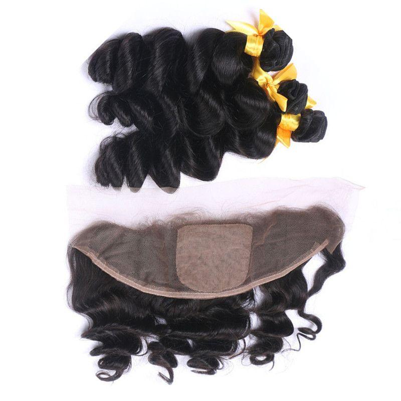 Индийские девственные человеческие волосы свободные волны плетения пучки 3 шт. С фронтальной свободные волнистые шелковые базы кружева фронтальной закрытия 13x4 с девственной утки волос