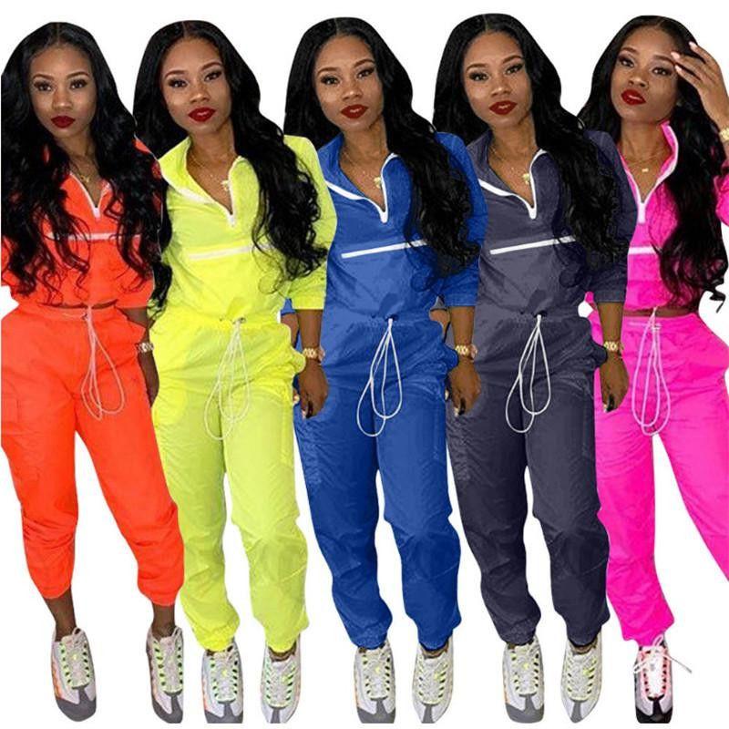 Frauen Anzug Langarm-Sweatshirt Crop Top + Kordelzug Hose 2 Stück-Set Patchwork Sweatsuit drehen unten Kragen-Outfits Anzug New