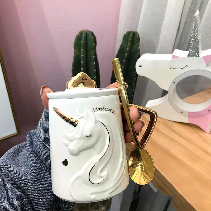 세라믹 찻잔 뚜껑 숟가락 컵 창조적 마시는 커피 차 우유 아침 세라믹 컵 발렌타인 데이 선물 휴대 전화 홀더