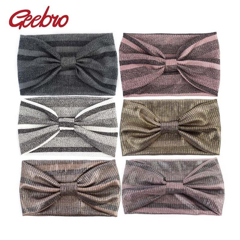 Bayanlar Wrap Bow hairband için Geebro Kadın Metalik Renk Geniş Çizgili Bantlar Yaz Moda Düğümlü Turban Örme Kafa