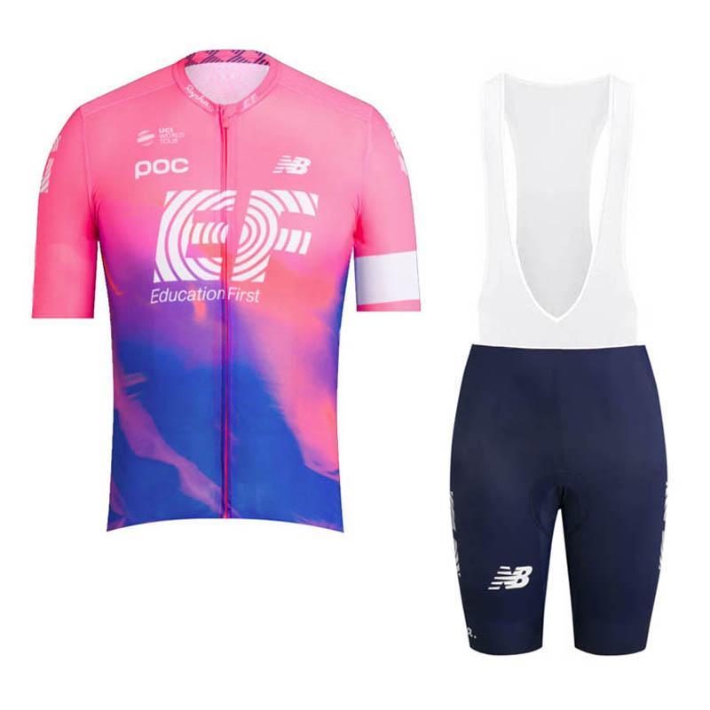 2019 New Team EF Education First Cycling Jersey men short sleeve bike shirt bib shorts set summer breathable racing bicycle clothing Y022704