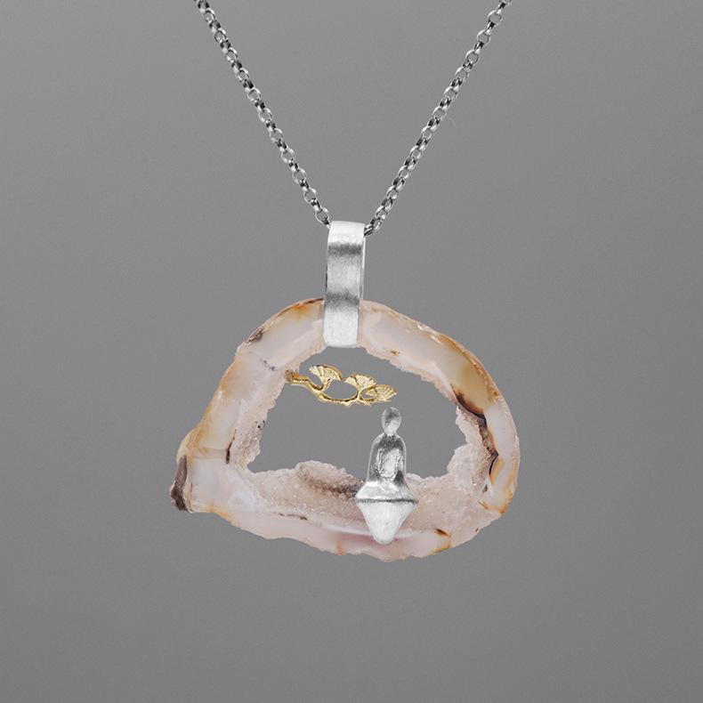 Inature 925 Sterling Silver Natural Agate Yoga Pendant Necklace Women Jewelry SH190721
