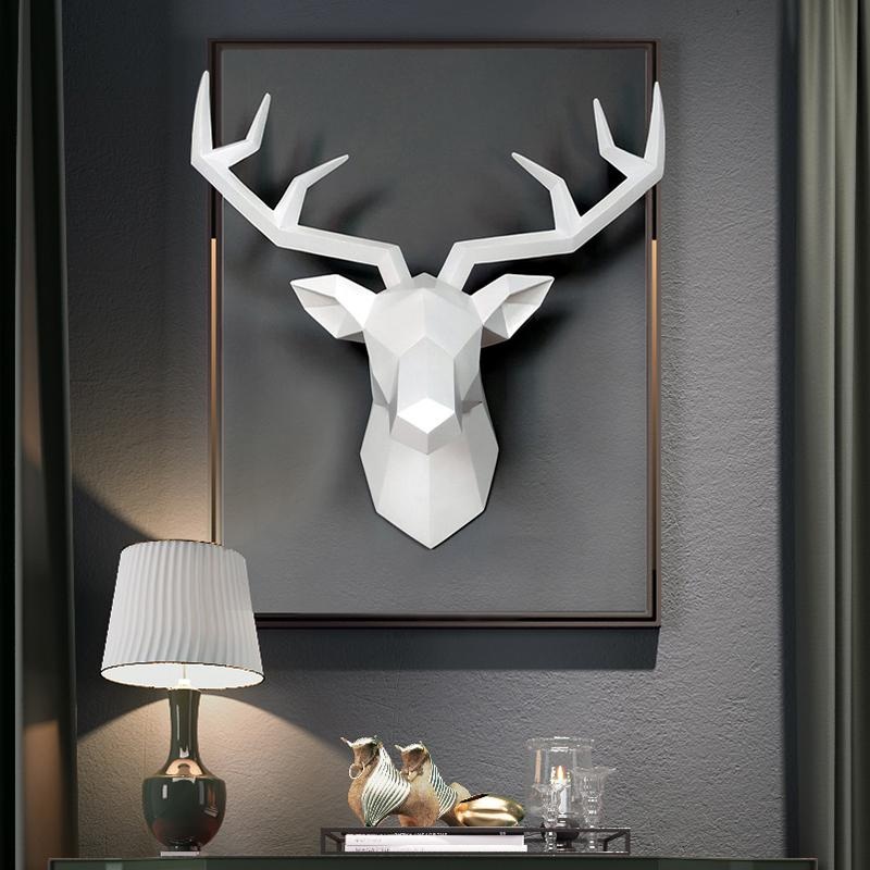 3D Deer Head Sculpture Home Decoration Accessories Geometric Deer Head Abstract Sculpture Room Wall Decor Resin Deer Head Statue T200330