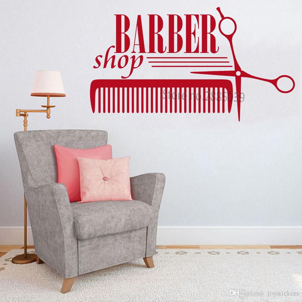 New Style Hair Salon Sign Vinyl Wall Stickers Barber Shop Badges Tools Decals Wall Decor Art Murals Wallpapers Removable