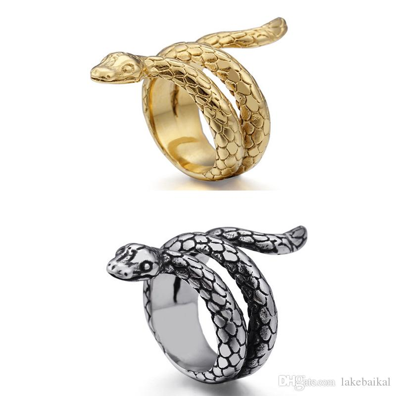 Metal Men Snake Finger Ring Punk Style Animal Snake Ring for Gift Party Fashion Jewelry Accessories Size 7-12