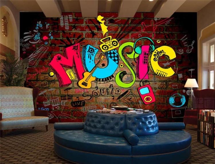 foto papel de parede na moda tijolo Musical Wallpaper Bar Cafe decoração da parede papel de parede 3D mural papel de Parede para Quarto