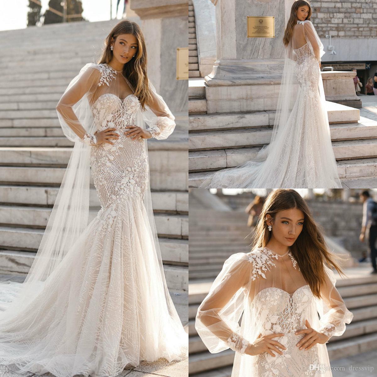레이스 인어 웨딩 드레스 랩 2019 Berta Applique Seweetheart 스팽글 비드 비치 웨딩 드레스 플러스 사이즈 Boho Vestidos de Novia
