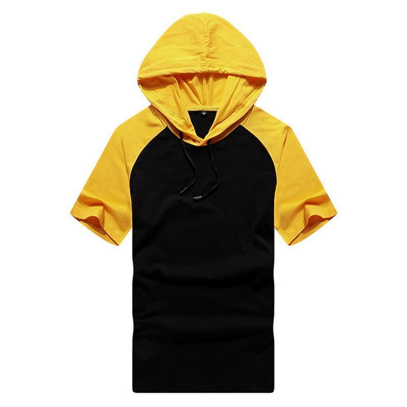 Hombres camiseta de verano sólido ocasional flojo con capucha Tops camisas de las camisetas de deporte Hombre Nueva camiseta de manga corta para hombre T-Camisa Ropa tamaño S-2XL