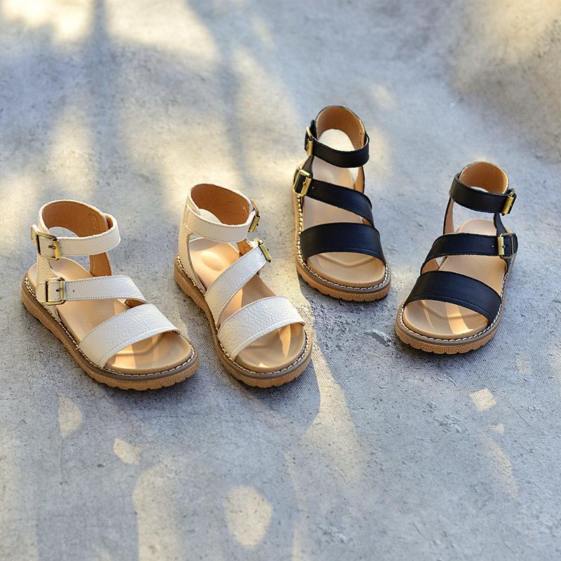 여름 어린이 로마 샌들 진짜 가죽 패션 공주 신발 파티 쇼걸 샌들 크기 26-36 CX200704