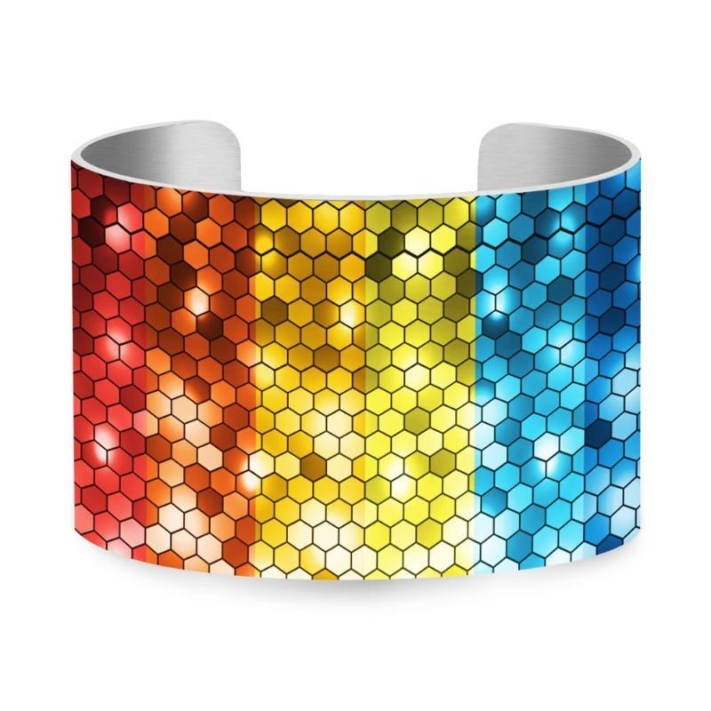Colored honeycomb UV printing cuff Contrast color bracelet 5cm Aluminum Bangle Wristband Jewelry Gift For women U-072