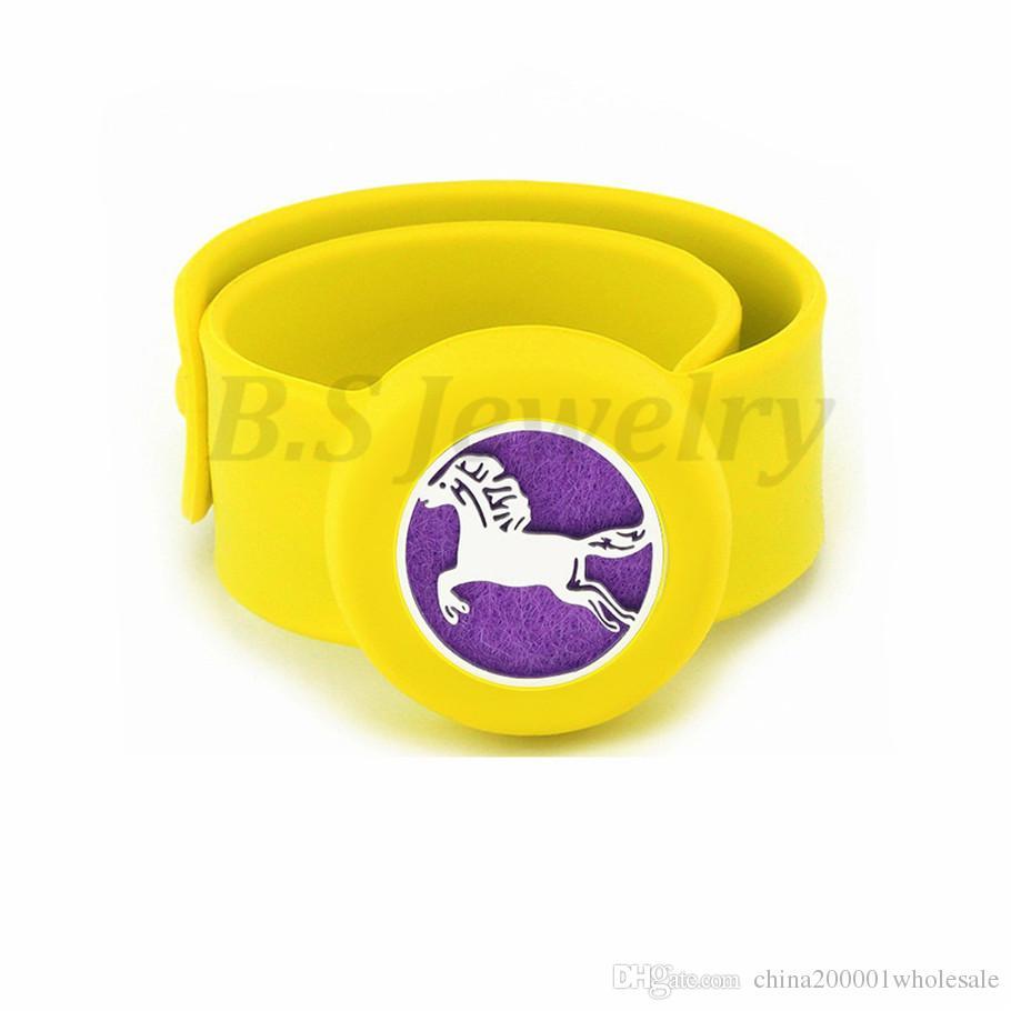 horse Charm Bracelet Kid Jewelry Silicone Slap Bracelets Essential Oils Diffuser Wristband Anti-Mosquito Bracelets & Bangles For Kids