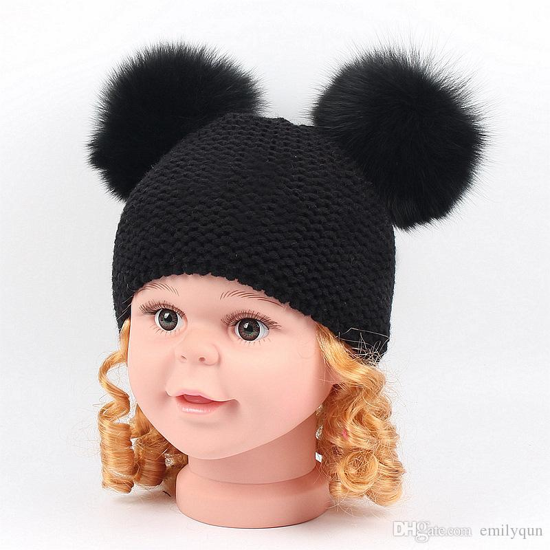 Winter Wool Hats Ball Knitted Hats Warm Head Hats Caps For Children Boys Girls
