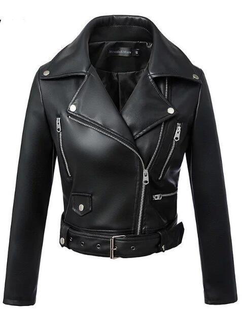 2019 New Fashion Women Autumn Winter Black Faux Leather Jackets Zipper Basic Coat Turn-down Collar Biker Jacket With