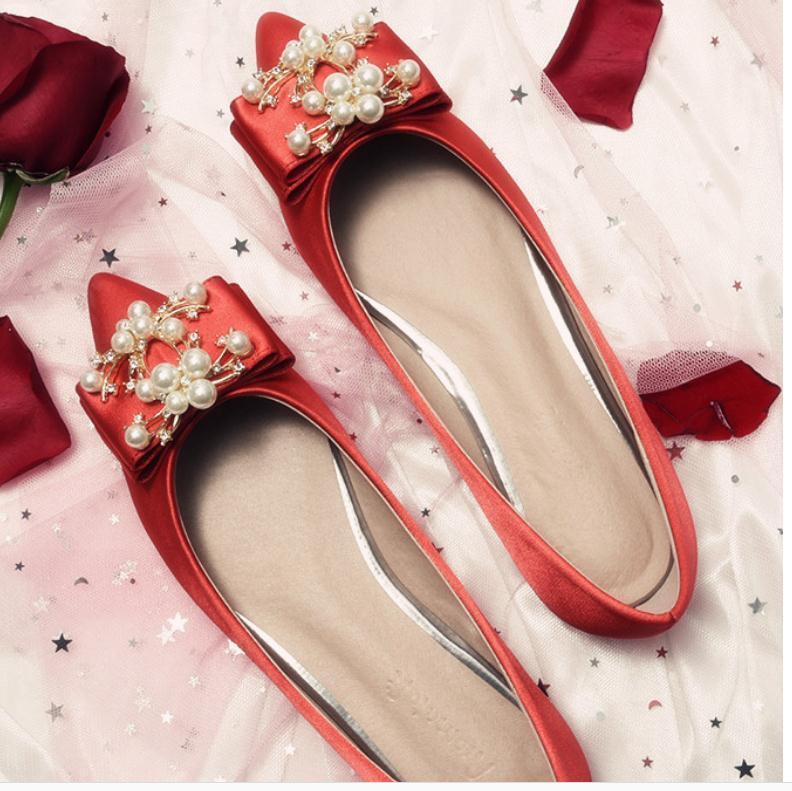 2020 La primavera y el otoño con sedas Nueva moda estilo de fondo plano en punta bowknot finales y los satenes zapatos de mujer @ OP-1