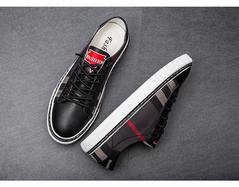 D144 2019 modelos nova explosão homens baixo para ajudar sapatos casuais tendência sapatos selvagens embalagem original de entrega caixa de cabelo Shoes PU Casual