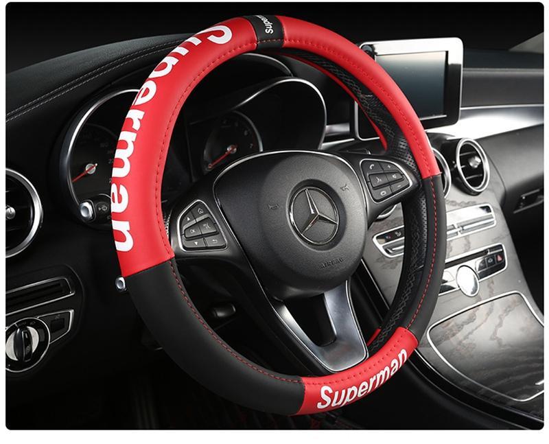 Manera de la decoración nueva dirección de coches de lujo cubierta de rueda de 15 pulgadas Coches Asientos de Piel Cojines Sup Negro Accesorios para automóviles