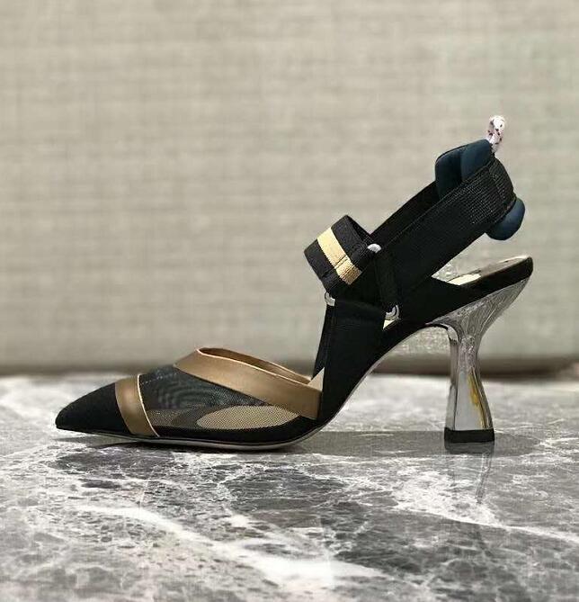 Kadın arkası açık iskarpin Çok renkli Teknik-file Colibri İtalya Roma 85mm Stretch Elastik Bilek sapanlar Moda Colibri Ayakkabı