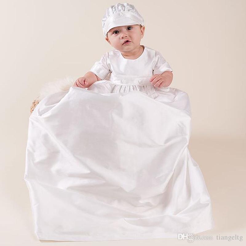 المولود الجديد 0-15M بنات اللباس مجموعة العودة الصلبة زر التعميد ثوب طويل نمط ملابس اطفال وتتسابق مع القبعة البيضاء
