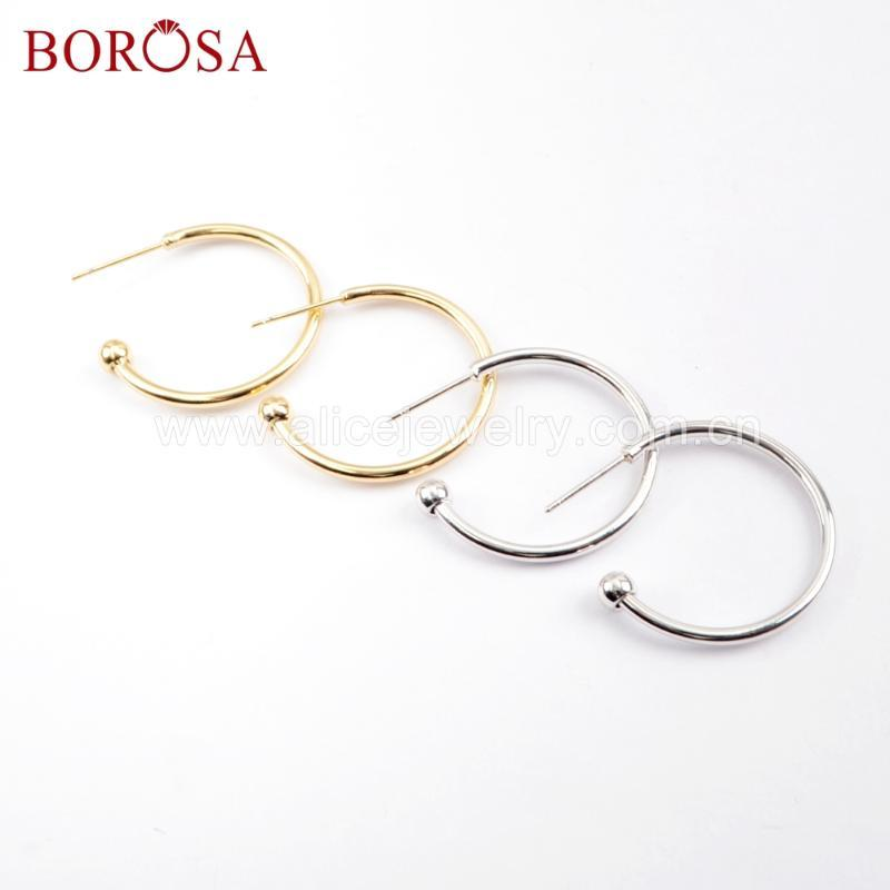 BOROSA 25Pairs Circle Earring Gold Fashion Hoop Earring Jewelry Finding for Drop Earrings Diy for Woman Making 239