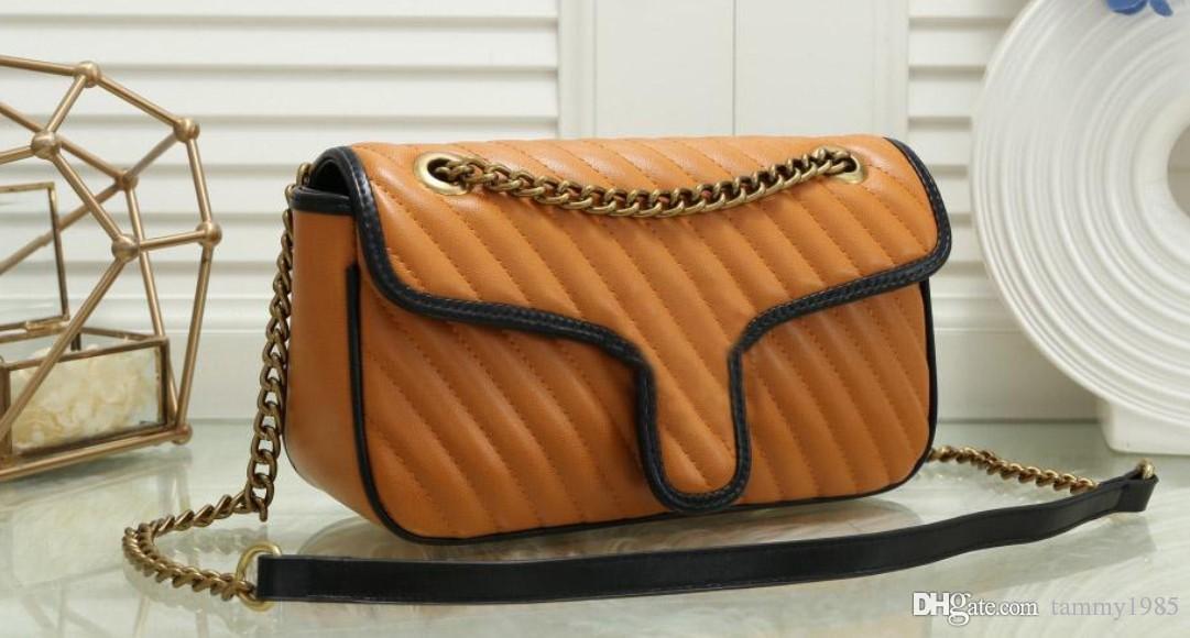 Kadın Boyutu: Altın Kalite Yeni Çanta Çanta Messenger 26 cm * 7 cm * 18 cm Zincir Kayışı Çanta Büyük Omuz Çantaları Çapraz Vücut Tote Best Woman Pu HBFLW