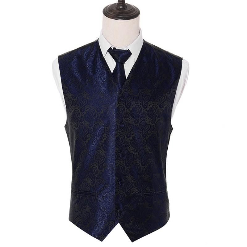 Men's Classic Navy Paisley Woven Slim Waistcoat Vest Neck ties Handkerchief Party Wedding Tie vest Suit Pocket Square Set
