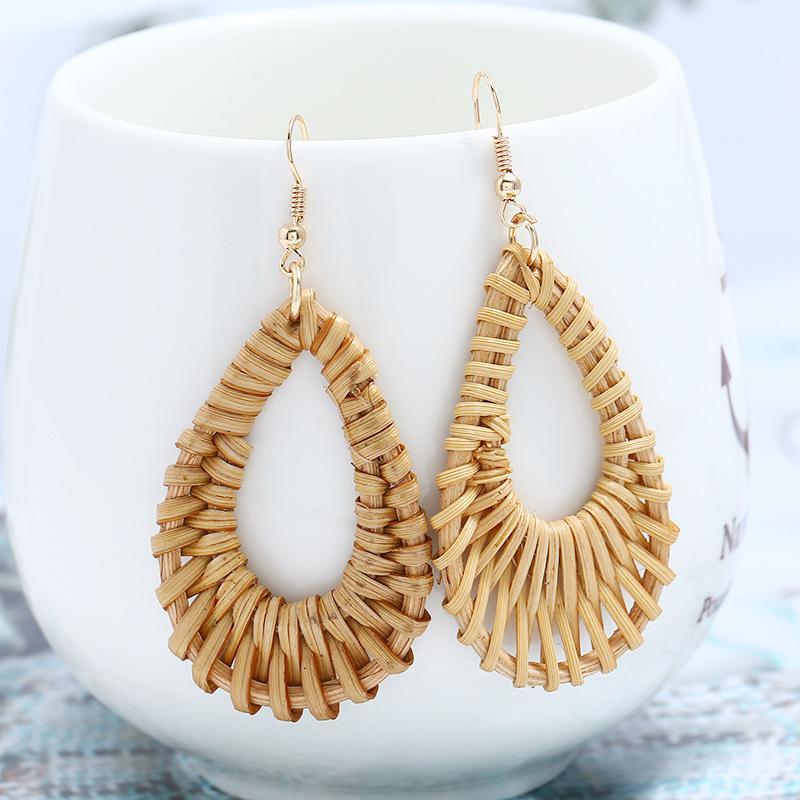 Women Straw Rattan Woven Geometric Hollow Earring Vintage Tassel Fashion Jewelry