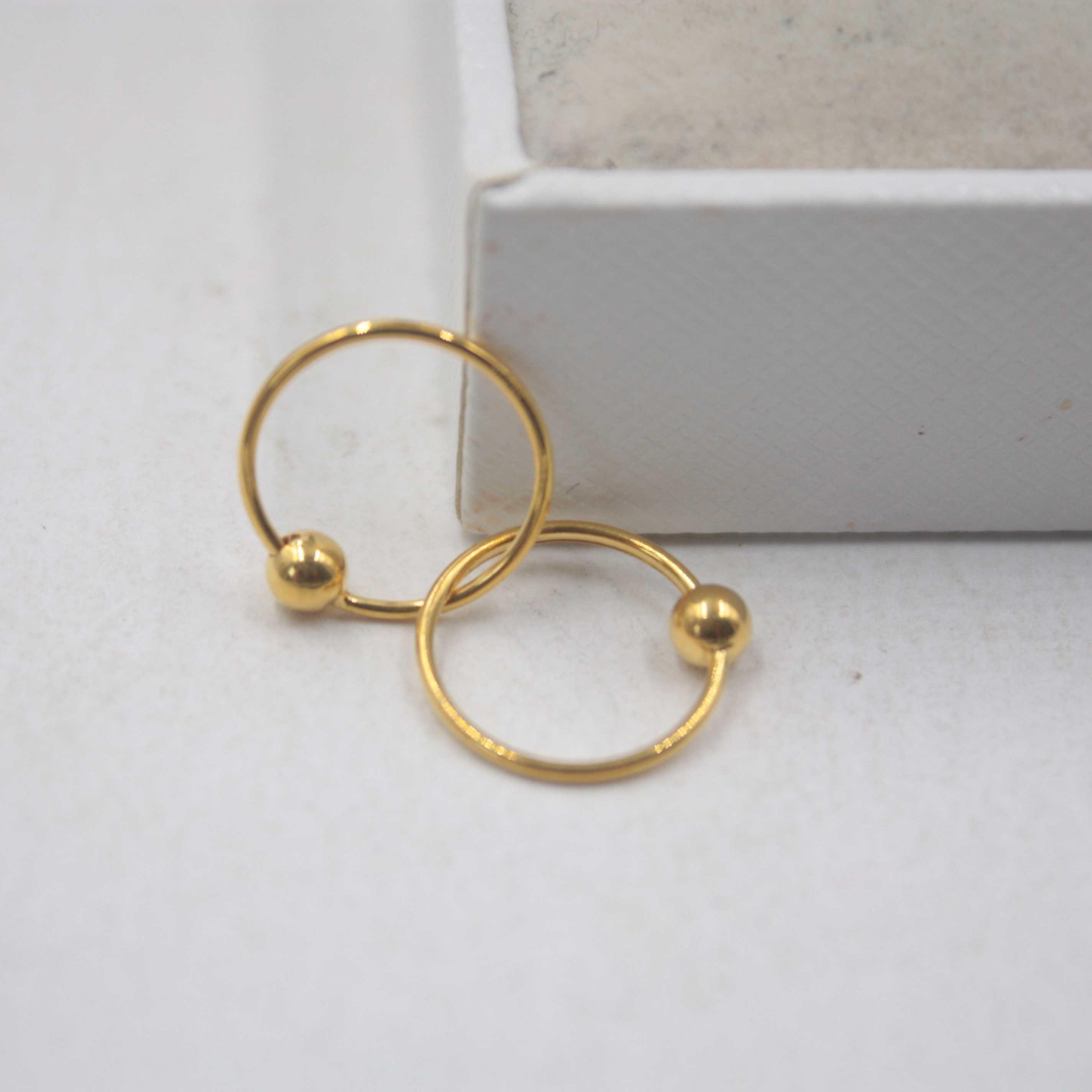 Reale oro giallo 18K orecchini liscio perfetto Bead Circle donna fortunata del cerchio 12mmDia orecchini gioielli CJ191203