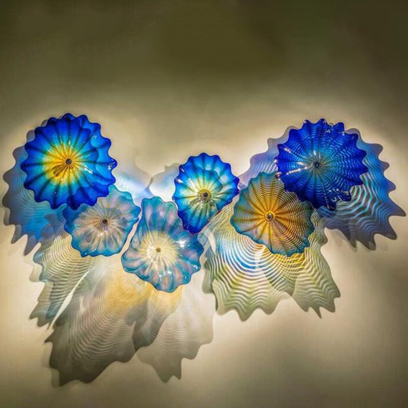 Lâmpada de vidro colorido azul lâmpada moderna Mão Murano Vidro de vidro iluminação abstrata flor de vidros flor lâmpadas de arte nórdica decoração