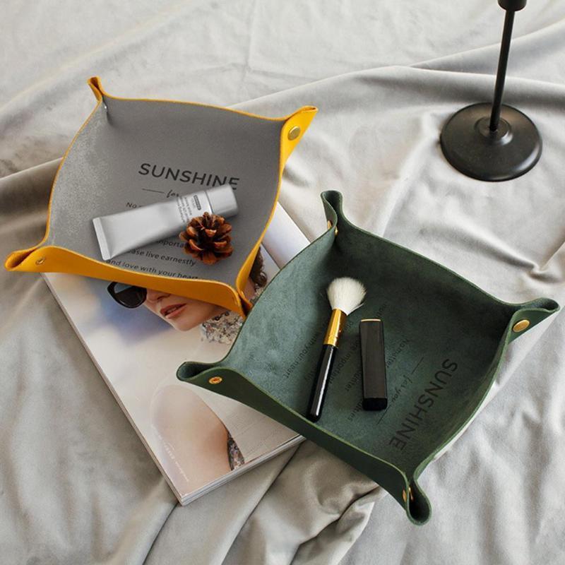 Faux Leather Início desktop Chaves Cosmetic Snack bandeja de armazenamento Titular Box Organizer jóias display Acessório Embalagem de joalharia