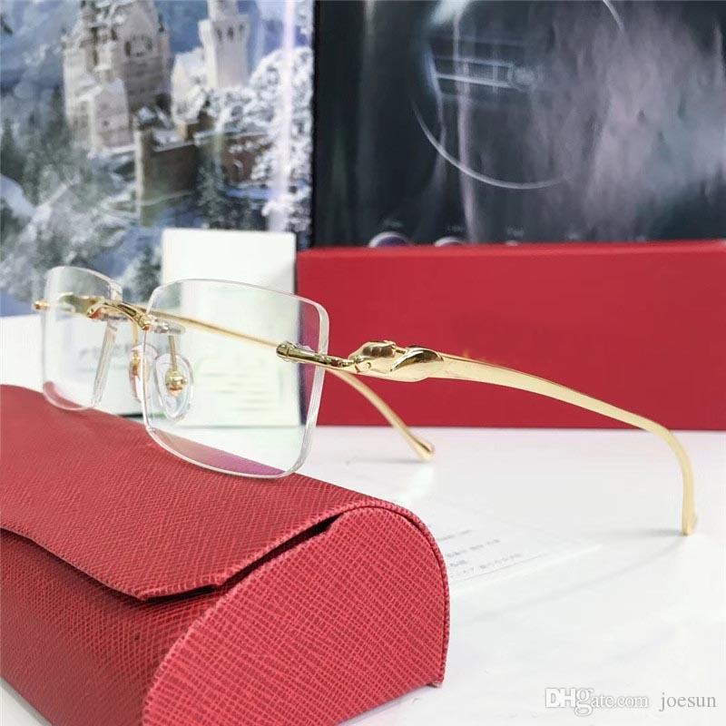 도매 새로운 패션 디자이너 광학 안경 5634295 레트로 메탈 frameless 투명한 렌즈 동물 빈티지 클래식 클리어 eyewear