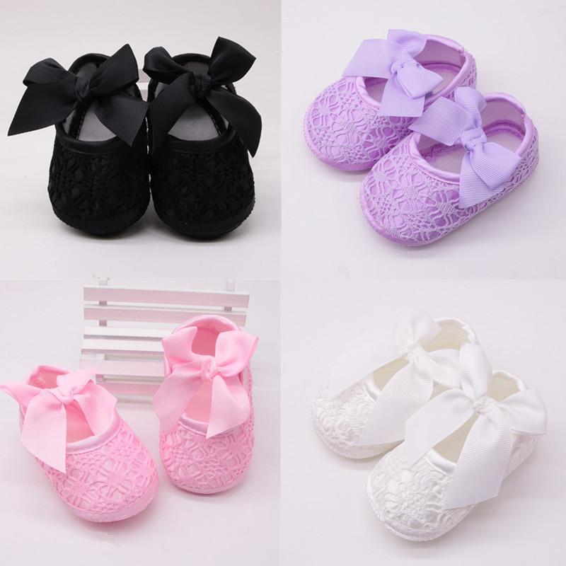 Chaussures bébé fille souple Chaussures souples Confortable antidérapante bas Mode Bow Crib 2020