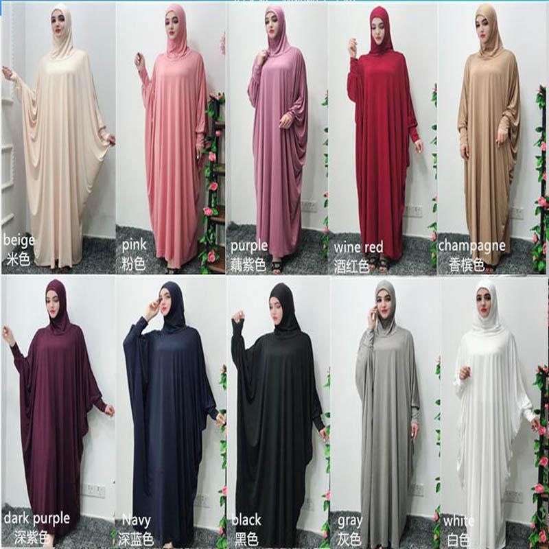 Vêtements ethniques Robe musulmane Mode Prière de couleur unie avec un foulard Ramadan et Eid Hijab turc islamique Dubaï Abaya