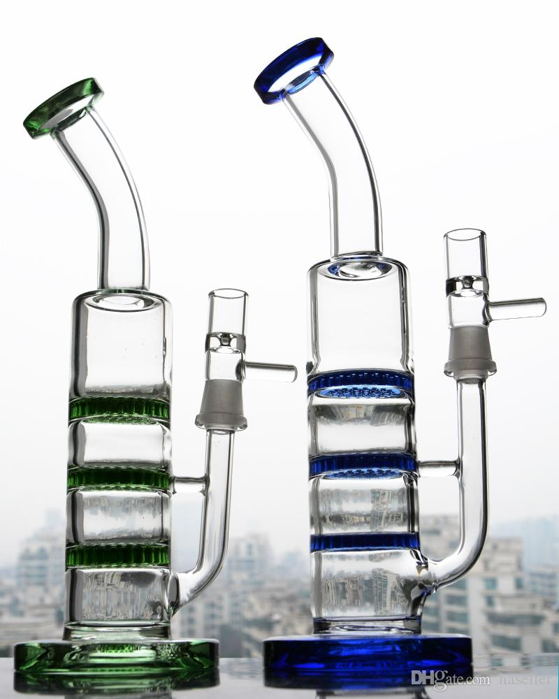 Green Big Glass Water Bong Thick Glass Honeycomb Percolator Bong Water pipes Glass Oil Rigs Smoking Hookahs With 18mm Banger 11 Inchs