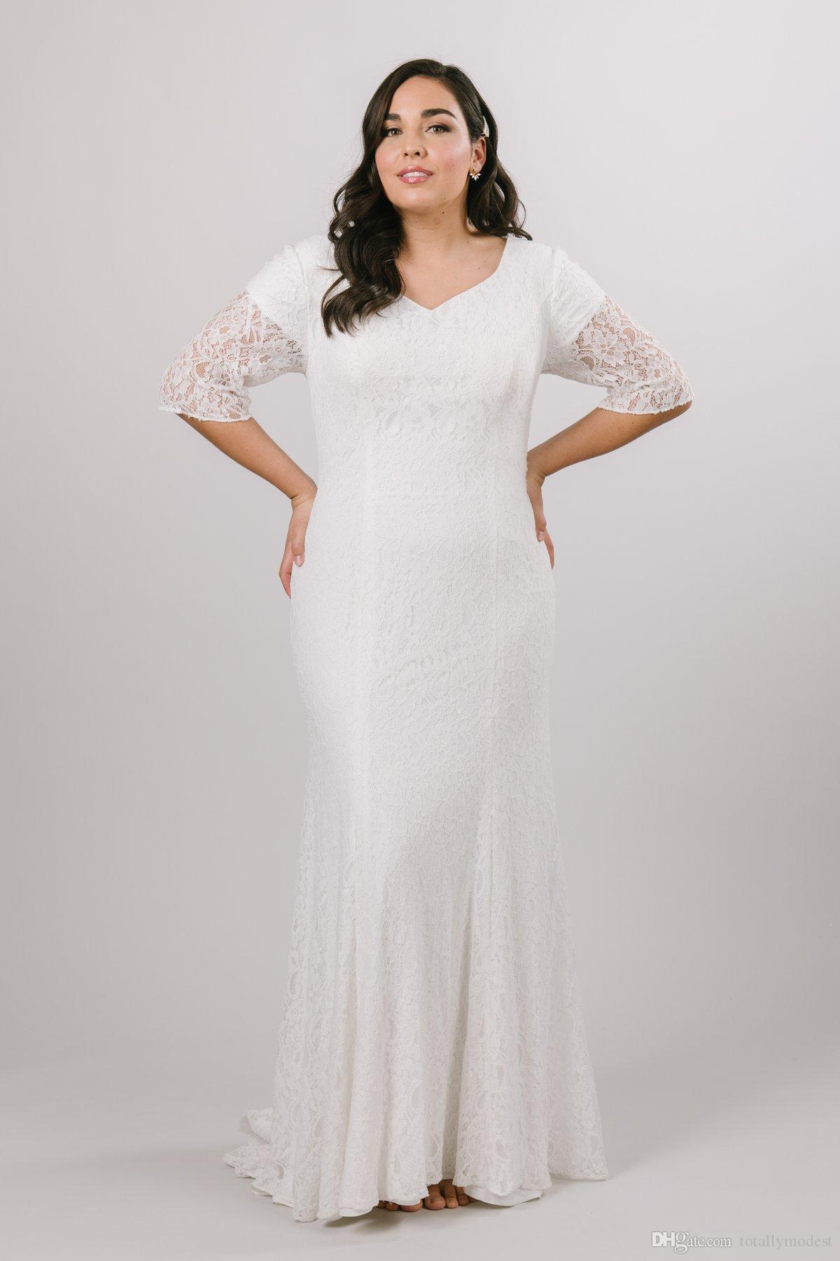 2020 Урожай Плюс размера Кружево Скромные свадебные платьев с рукавами Половины Sweetheart кнопкой Назад Простых скромных Большого размером свадебных платьев