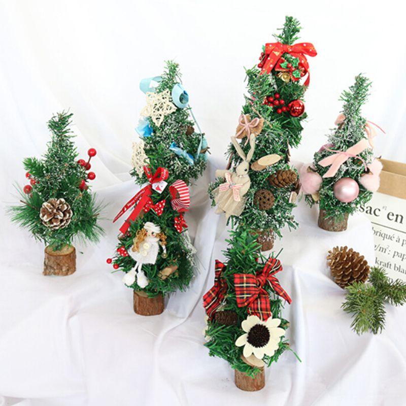 Mini arbre de Noël Décor bureau Table de fête Fête de Noël Ornement Décorations pour la maison cadeau 25cm